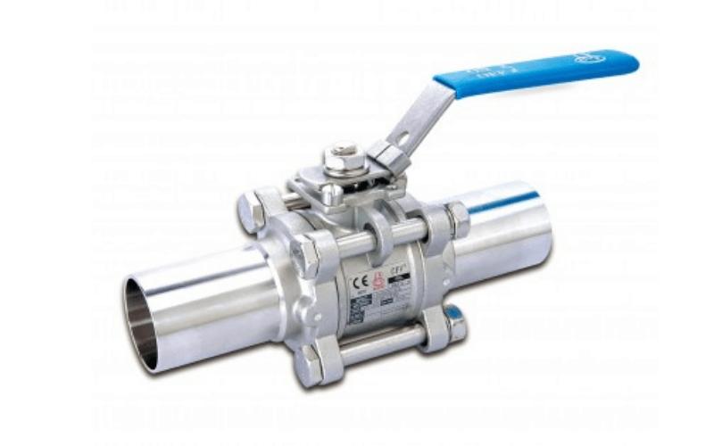 Van bi 3 mảnh nối hàn chịu được áp lực cao, được hàn cố định vào đường ống để đảm bảo không bị rò rỉ nước