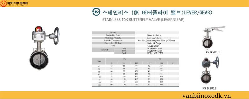 Thông số kỹ thuật van bướm inox 10k jouen tay quay
