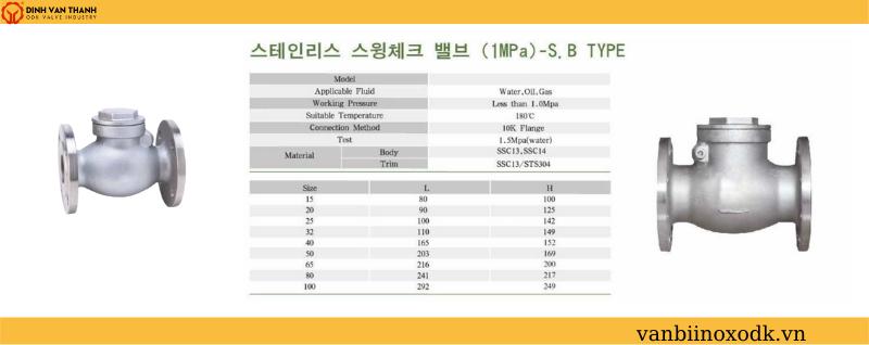 Thông số ky thuật van 1 chiều inox 10k joeun HQ