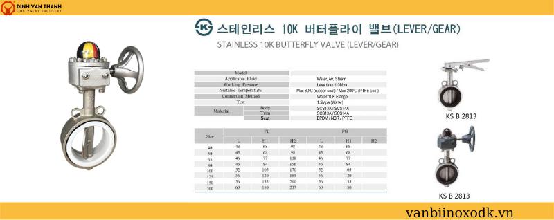 Thông số kỹ thuật van bướm 10k joeun ron teflong