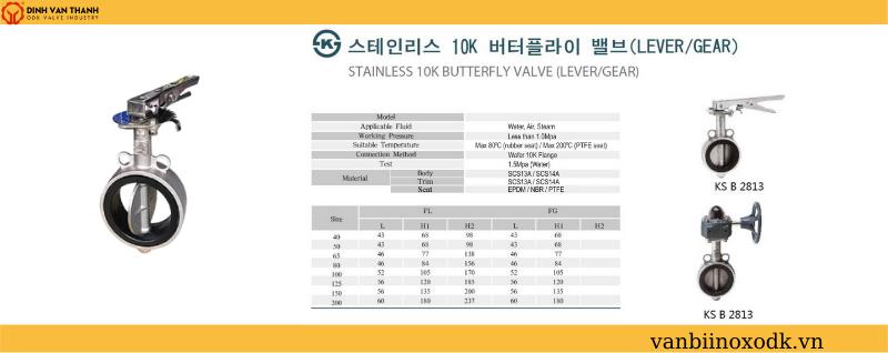 Thông số kỹ thuật van bướm inox 10k joeun tay gạt