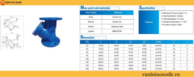 Thông số kỹ thuật y lọc gang pn16 joeun epoxy
