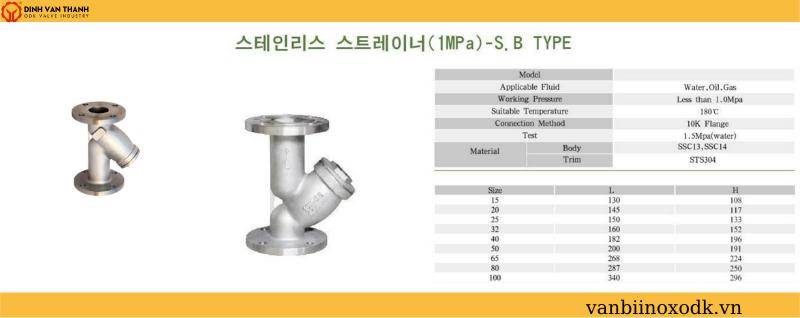 Thông số kỹ thuật y lọc inox 10k joeun SB